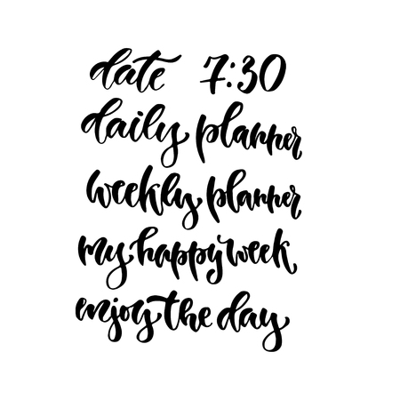 weekly: Modern vector lettering. Calligraphy phrase for planners Illustration
