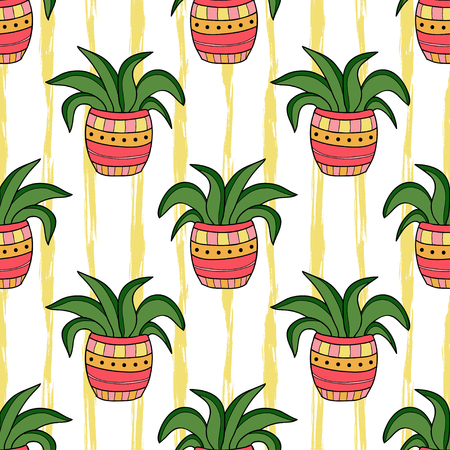 houseplants: Interior seamless pattern. Cartoon flowers in pots. Vector background for wrapping, wallpaper and socks design.