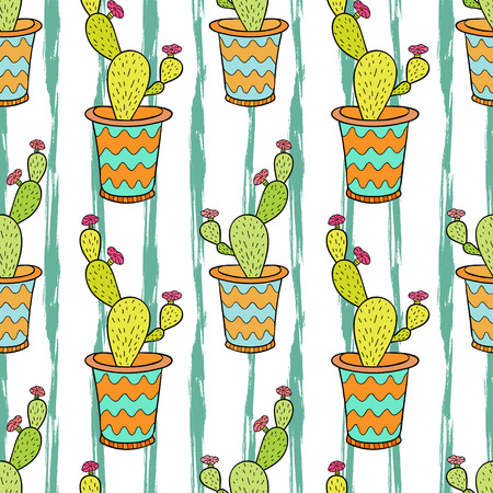 Cactus seamless pattern. Colorful cartoon flowers in pots. Vector background for wrapping, textile and package design Ilustração