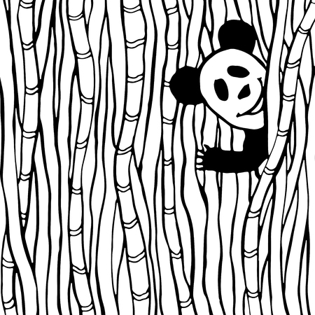 coloration: Funny panda in the bamboo forest. Coloring book page. Vector kids illustration