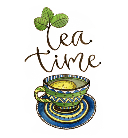 Tea time illustration with calligraphy. Watercolor print with tea cup and lemon. Poster or greeting card design Stock Photo