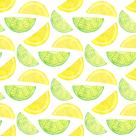 Watercolor seamless pattern. Background with lemon slices isolated on white. Citrus wallpaper or textile design Stock Photo