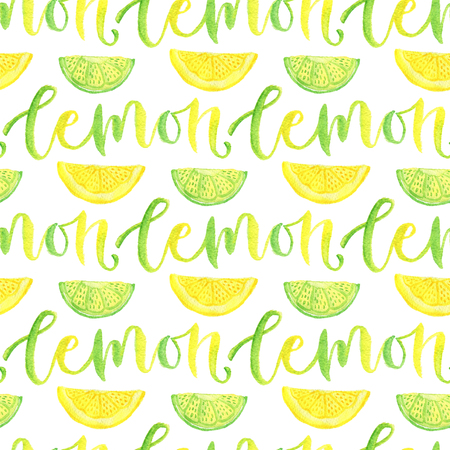 Watercolor lemon and lime seamless pattern with calligraphy. Bright background for menu design or marmalade packaging