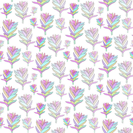 Vector seamless floral pattern with fantasy blooming flowers. Decorative background for print textile, fabric, wallpaper, home decor, packaging, wrapping paper. Ilustração