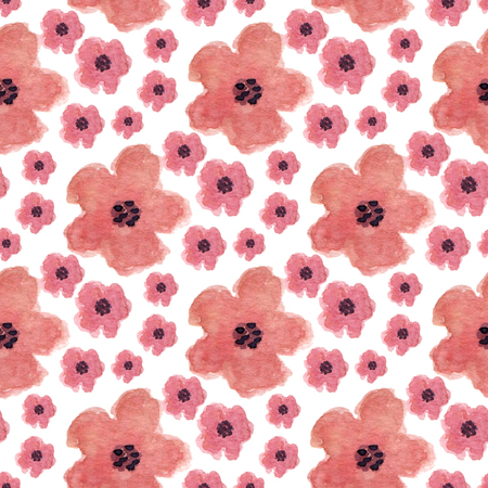 paint can: Watercolor seamless pattern with poppy flowers. Hand paint background. Can be used for wrapping, textile and package design