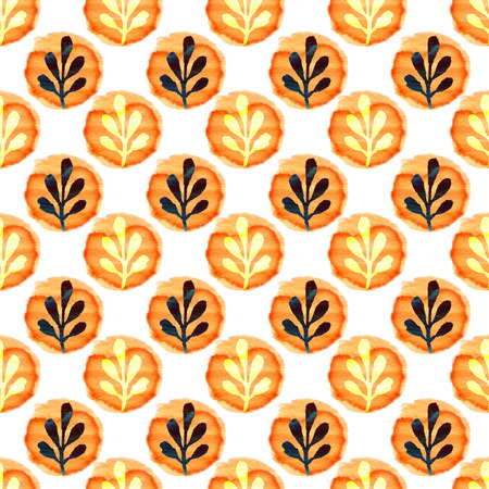 paint can: Watercolor leaves seamless pattern. Hand paint background. Can be used for wallpaper and stationery design. Stock Photo