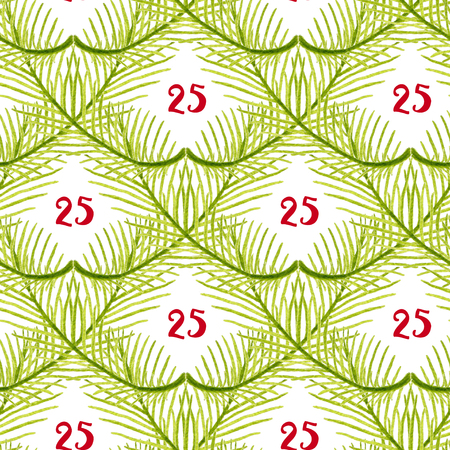 Watercolor Christmas tree branches seamless pattern. Hand painted texture background
