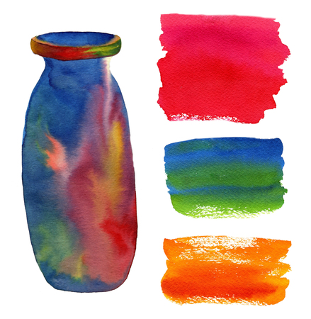 leaden: Watercolor background set. Painting abstract backdrops and bottle print Stock Photo