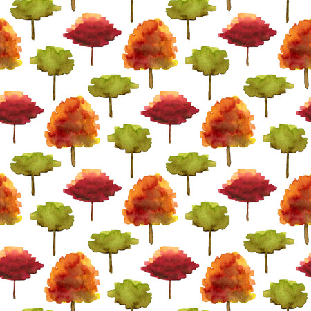 scraps: Autumn seamless pattern with watercolor trees. Bright illustration for fabric, wrapping paper and kids textile design