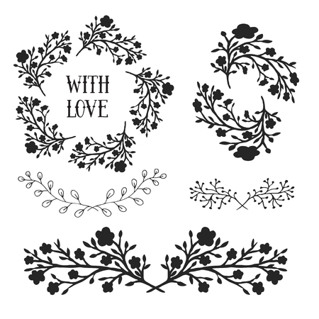 Floral design elements set, frames and borders. Vector decorative elements. Can use for birthday card, wedding invitations, prints, holidays decorations.
