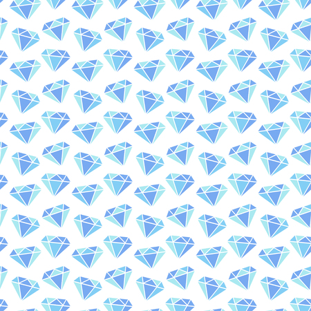 Diamonds seamless pattern on white background. Vector illustration in blue colors. Wrapping or fabric pattern. Illustration