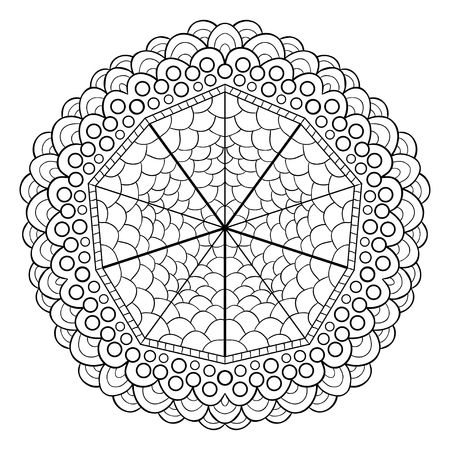 Unique mandala design. Ornamental pattern for coloring book pages. Ornament for henna tattoo design