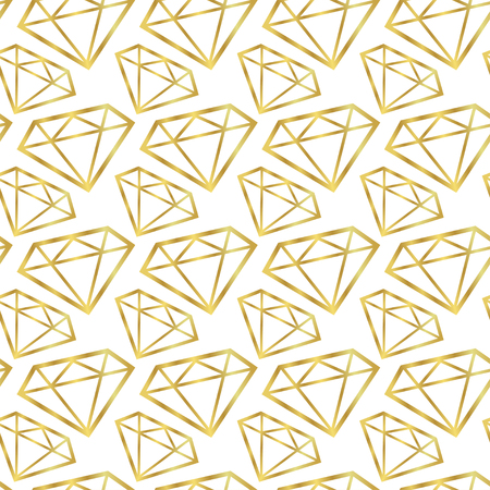 Diamonds seamless pattern. Vector girly background in gold color. Fashion wrapping or fabric pattern.
