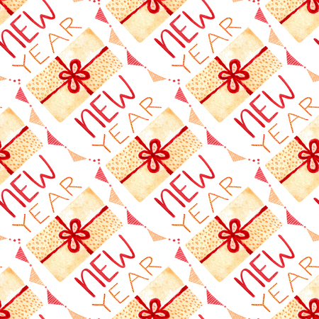Watercolor New Year seamless pattern with gift box and calligraphy. Illustration for wrapping paper. Stock Photo