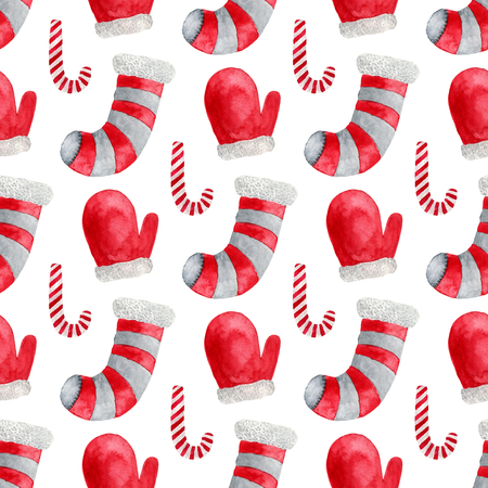 mitten: Seamless pattern with cane, socks and santa mittens. Merry Christmas and Happy New Year design. For print, wrapping paper.