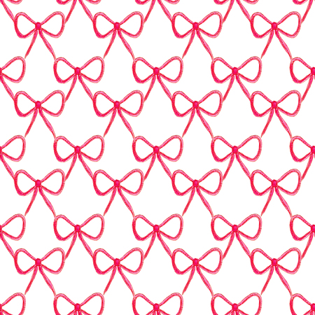 Seamless pattern with bow. Fashion backdrop in watercolor style, isolated on white background.