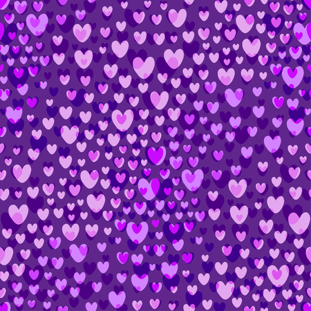 Purple hearts pattern vector background. Valentines Day seamless pattern. Ilustrace