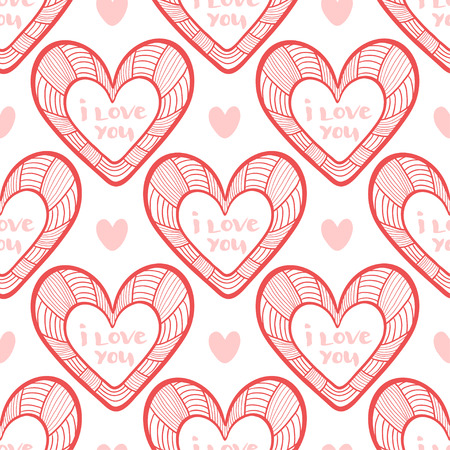 Valentines wrapping pattern with hearts. Vector texture for packaging design. Illustration