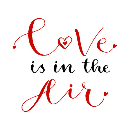 love is in the air valentines day print handwritten greeting