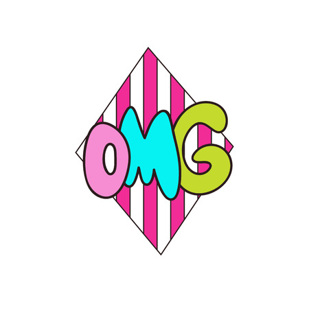 Omg vector lettering. T-shirt print design. Cute doodle sticker. 向量圖像