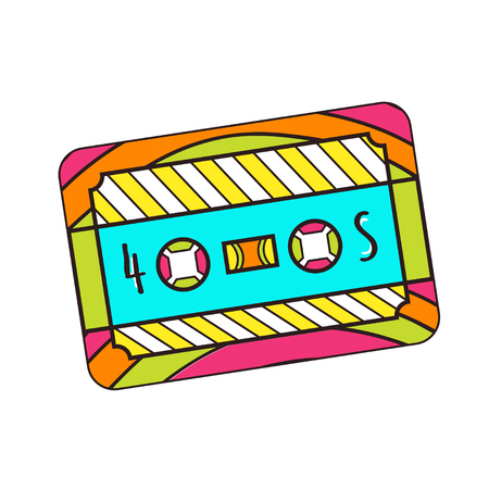 Cassette vector icon. T-shirt print design. Cute hippie sticker.