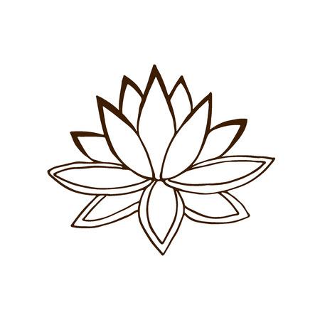 Lotus flower icon. Hand drawn logo. Summer vector illustration Illustration