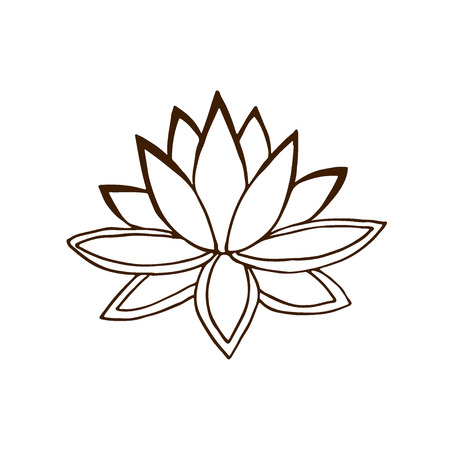Lotus flower icon. Hand drawn logo. Summer vector illustration Иллюстрация
