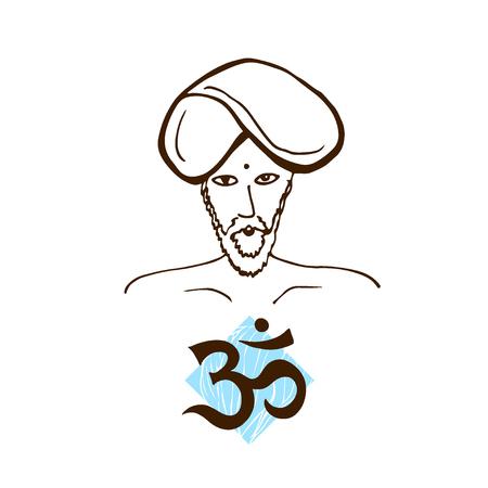 Indian men icon. Om sign. Vector print illustration Illustration