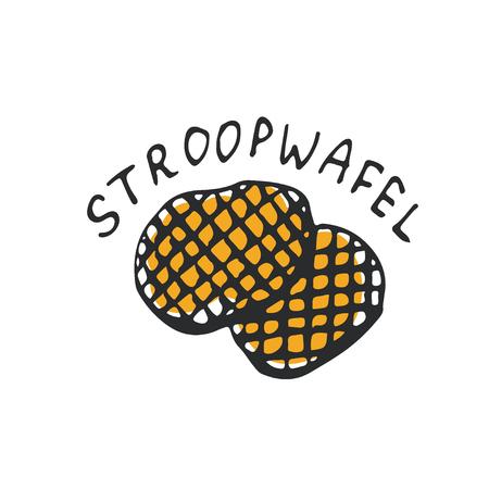 Stroopwafels sketch icon. Netherlands dessert illustration. Sweet food art