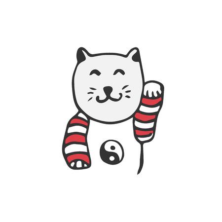Japanese maneki neko cat. Vector good luck sign. Doodle illustration