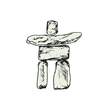 Inukshuk Vector icon. Hand drawn print. Sticker canadian design Illustration