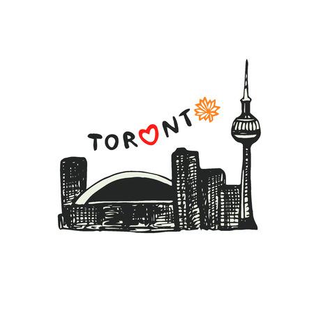 CN Tower Toronto. Vector icon. Hand drawn print. Sticker design