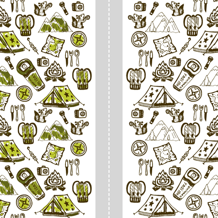 Hand drawn camping background. Summer vacation. Vector template for banner