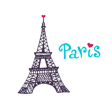 Eiffel tower Vector icon. Hand drawn print. Paris card design isolated on a white background Ilustração