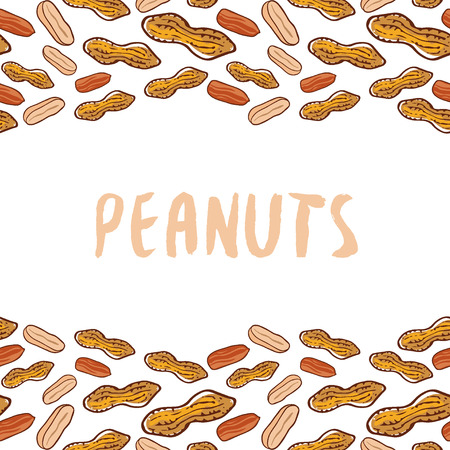 Peanuts background. Nuts hand drawn vector illustration. Packaging design isolated on a white background