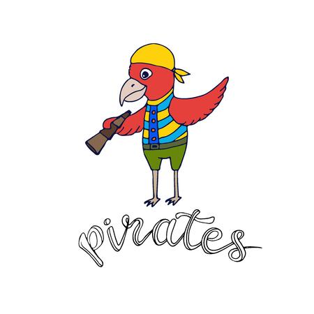 Cartoon parrot pirate. Kids shirt design. Fashion print design Illustration