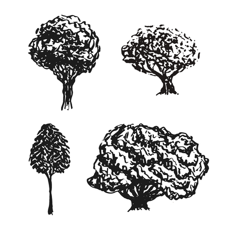 Trees sketched in vector. Hand drawn isolated elements. Black silhouettes