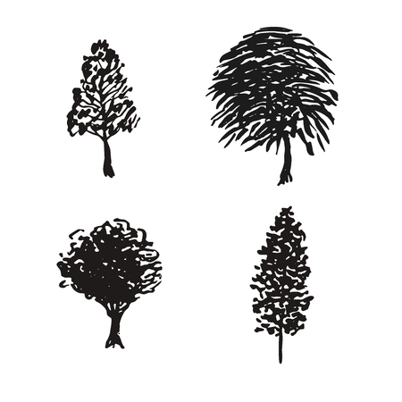 Trees sketches vector. Hand drawn isolated natural elements. Black silhouette