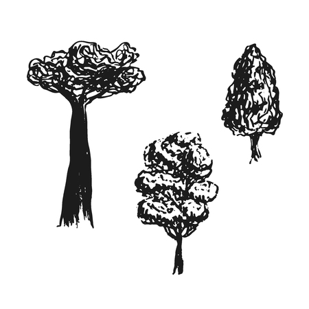 Trees sketched in vector. Hand drawn isolated elements. Black silhouettes. Baobab tree