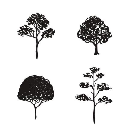 Illustrazione abbozzata degli alberi. Elementi naturali isolati disegnati a mano. Icone sagoma nera