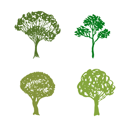 Trees handdrawn icons. Sketched isolated garden elements. Green vector silhouette