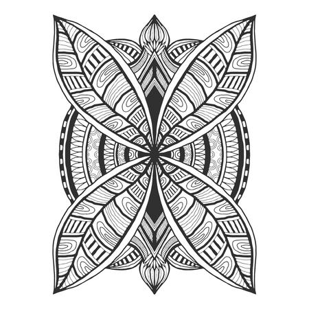 Ornamental tattoo design. Unique ornament pattern. Vector for adult coloring page or decoration. Creative interior print