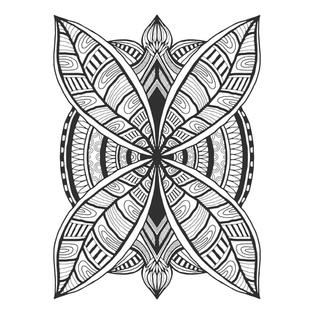 Ornamental tattoo design. Unique ornament pattern. Vector for adult coloring page or decoration. Creative interior print