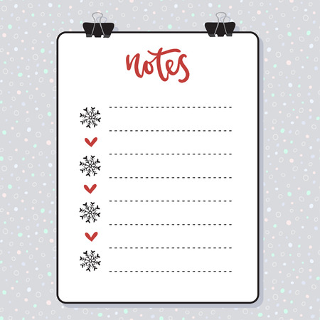 Clipboard with lined paper. Mockup Vector template. Christmas design