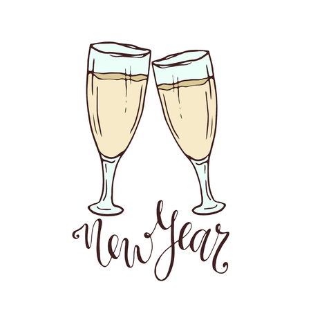 champagne glasses new year greeting card hand drawn illustration sticker print design stock