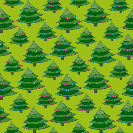 Cartoon Trees Seamless pattern. Christmas tree design. Green pattern for celebration wrapping paper