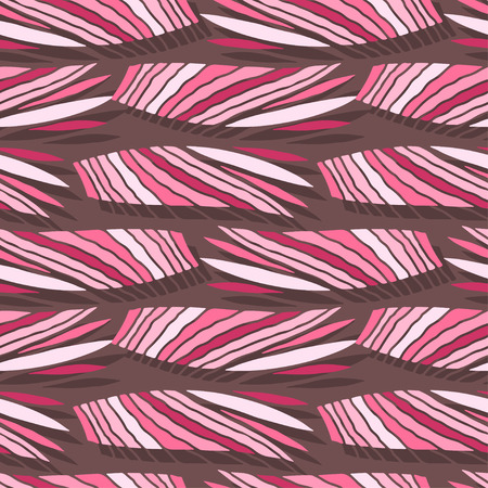 Pink doodle ornament pattern background with stripes. Tropical seamless pattern for fashion textile. Cute print for kids and woman cloth