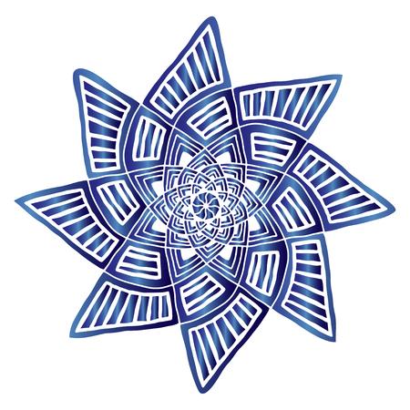 Geometric star mandala. Carpet ornament pattern. Interior mandala print. Mystical decorative element. Star logo in blue color