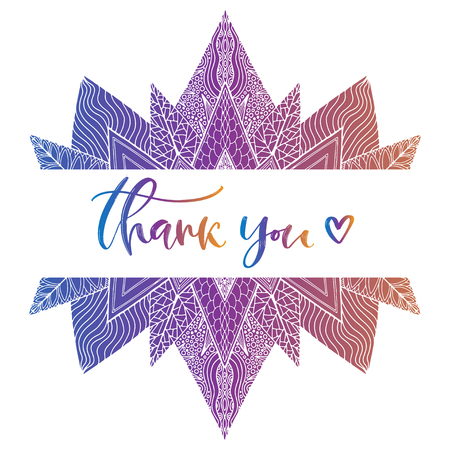 Thank you invitation card. Handwriting calligraphy banner. Calligraphic vector illustration. Thanks greeting print with creative abstract background