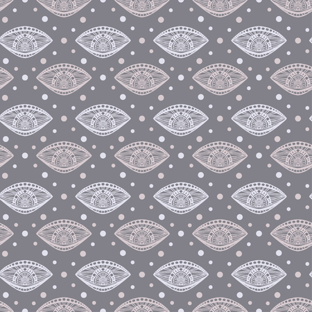 Eyes seamless background. Pattern for textile print design. Retro seamless pattern in grey colors.